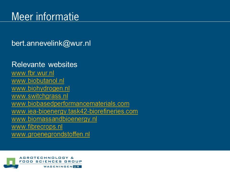 Meer informatie bert.annevelink@wur.nl Relevante websites www.fbr.wur.nl www.biobutanol.nl www.biohydrogen.nl www.switchgrass.nl www.biobasedperforman