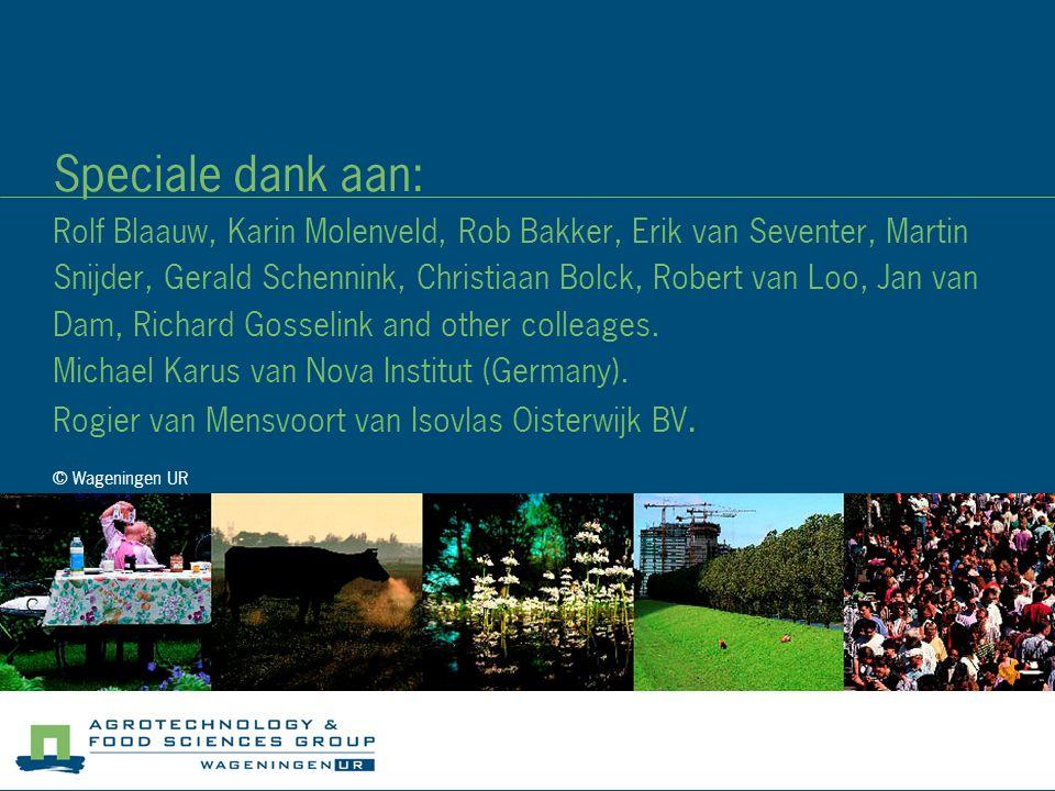 © Wageningen UR Speciale dank aan: Rolf Blaauw, Karin Molenveld, Rob Bakker, Erik van Seventer, Martin Snijder, Gerald Schennink, Christiaan Bolck, Ro