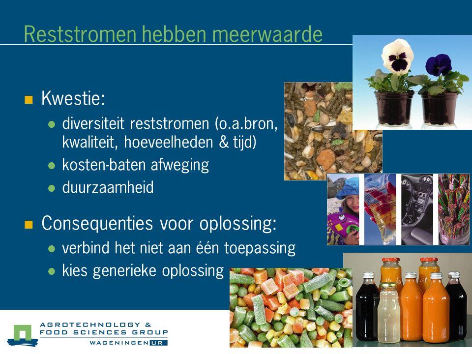 Reststromen hebben meerwaarde Kwestie: diversiteit reststromen (o.a.bron, kwaliteit, hoeveelheden & tijd) kosten-baten afweging duurzaamheid Consequen