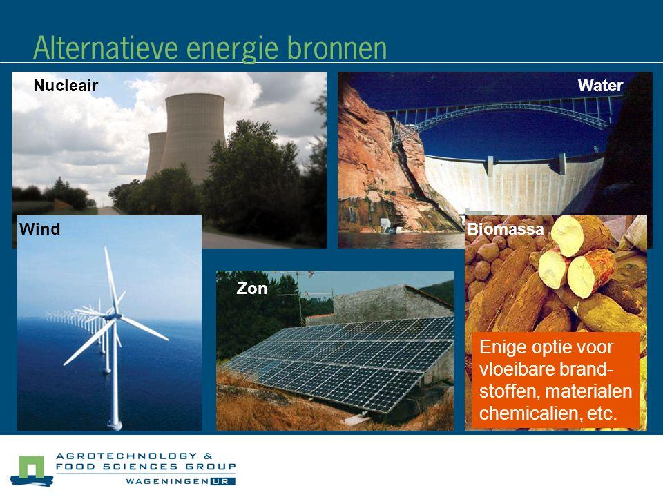 Alternatieve energie bronnen Wind WaterNucleair Zon Biomassa Enige optie voor vloeibare brand- stoffen, materialen chemicalien, etc.
