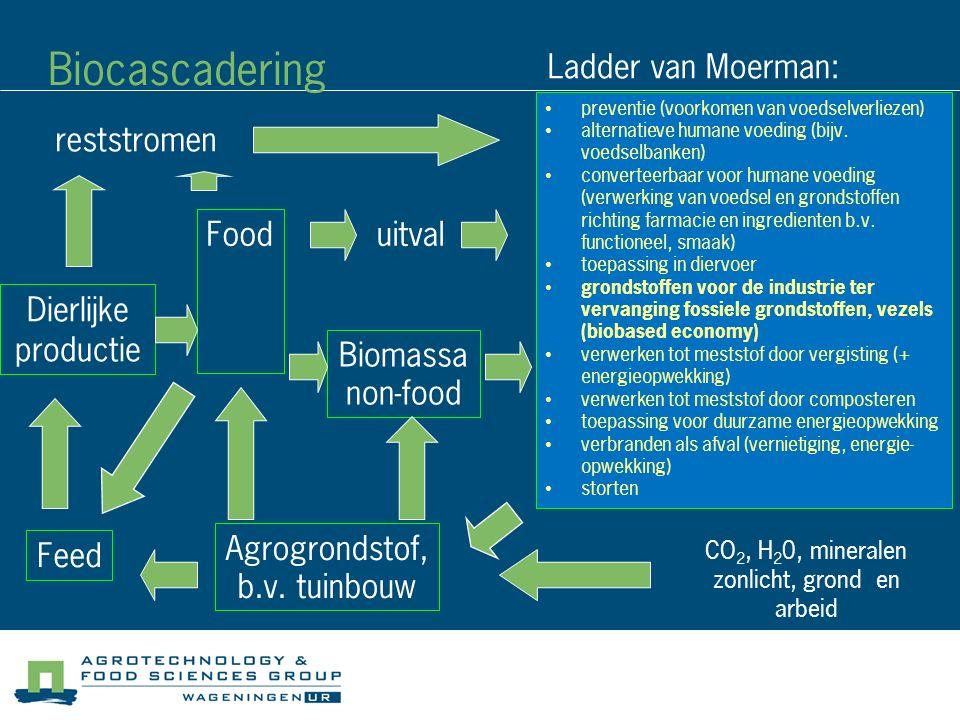 Biocascadering preventie (voorkomen van voedselverliezen) alternatieve humane voeding (bijv.