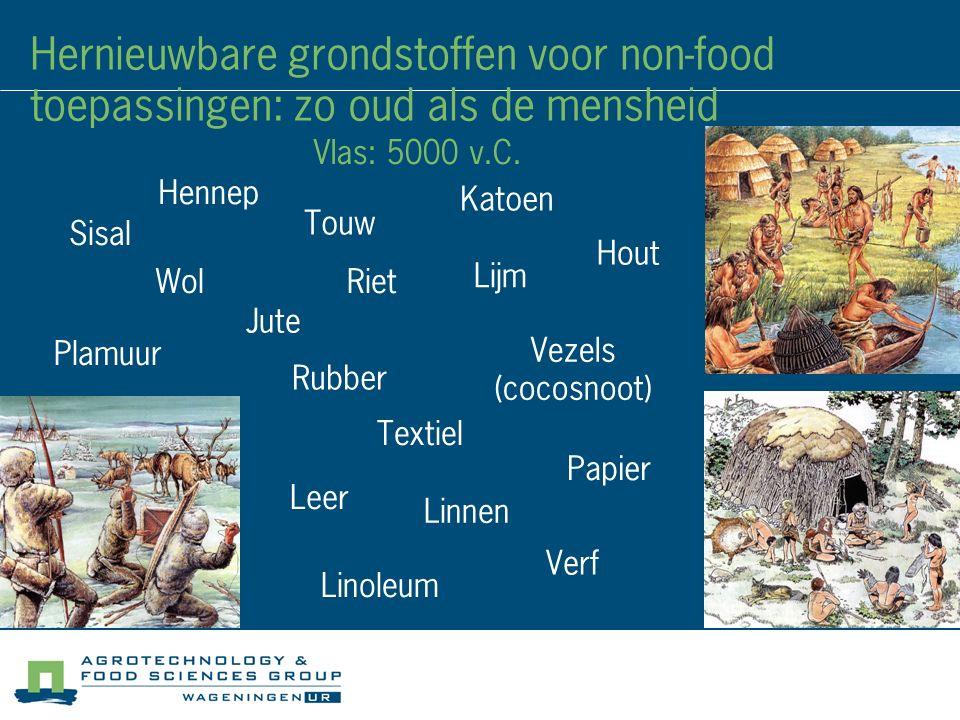 Hernieuwbare grondstoffen voor non-food toepassingen: zo oud als de mensheid Wol Lijm Verf Rubber Hout Leer Papier Touw Riet Vezels (cocosnoot) Jute S