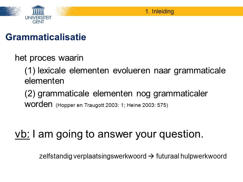 1. Inleiding het proces waarin (1) lexicale elementen evolueren naar grammaticale elementen (2) grammaticale elementen nog grammaticaler worden (Hoppe