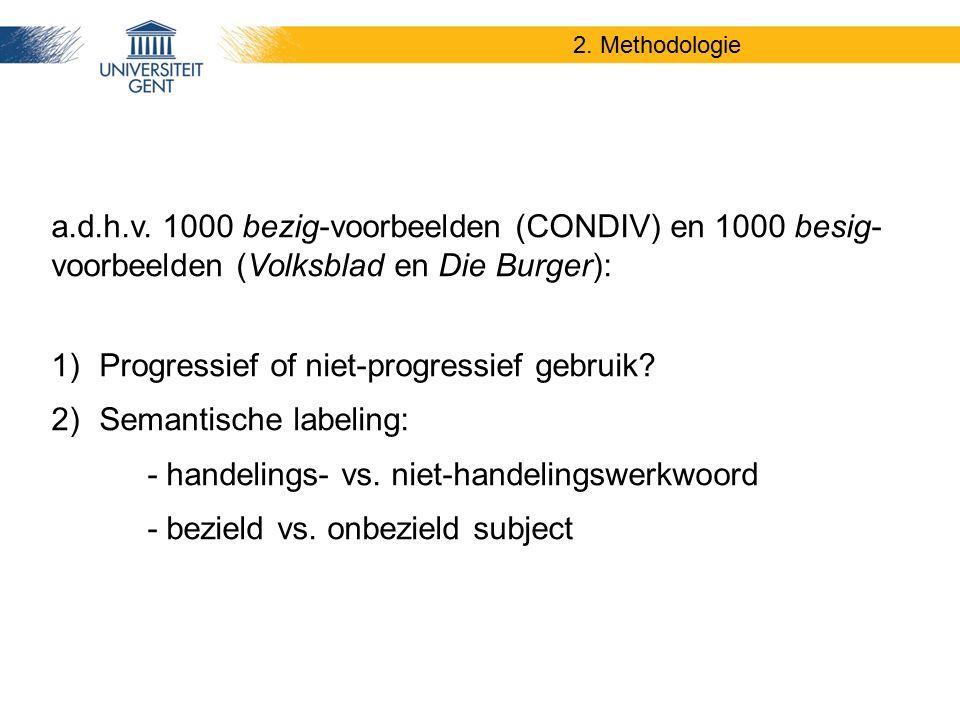 2. Methodologie a.d.h.v. 1000 bezig-voorbeelden (CONDIV) en 1000 besig- voorbeelden (Volksblad en Die Burger): 1)Progressief of niet-progressief gebru