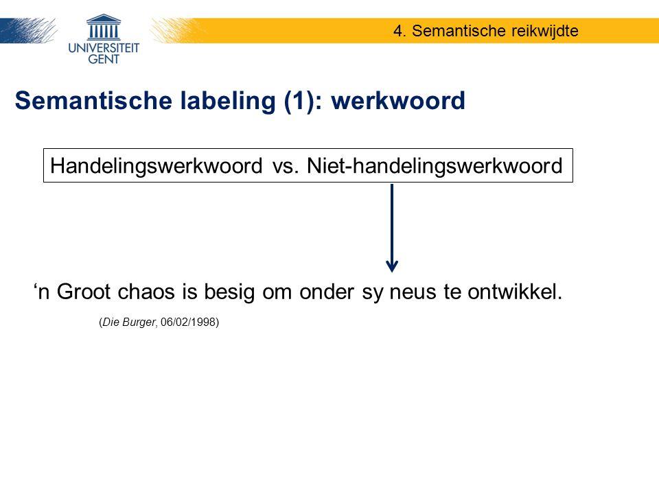 'n Groot chaos is besig om onder sy neus te ontwikkel. (Die Burger, 06/02/1998) Semantische labeling (1): werkwoord Handelingswerkwoord vs. Niet-hande