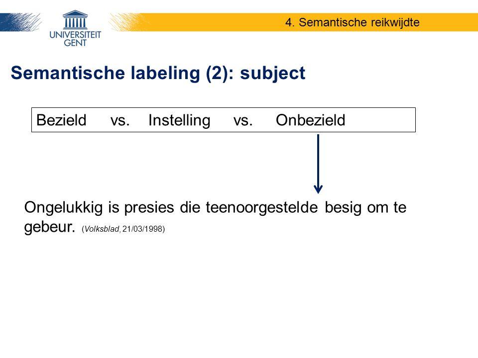 Ongelukkig is presies die teenoorgestelde besig om te gebeur. (Volksblad, 21/03/1998) Semantische labeling (2): subject Bezield vs. Instelling vs. Onb