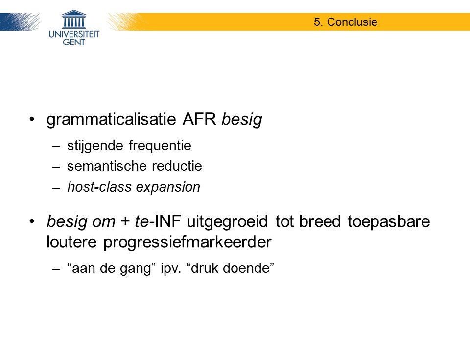 grammaticalisatie AFR besig –stijgende frequentie –semantische reductie –host-class expansion besig om + te-INF uitgegroeid tot breed toepasbare loute