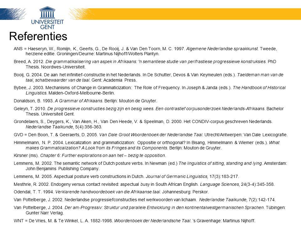 Referenties ANS = Haeseryn, W., Romijn, K., Geerts, G., De Rooij, J. & Van Den Toorn, M. C. 1997. Algemene Nederlandse spraakkunst. Tweede, herziene e