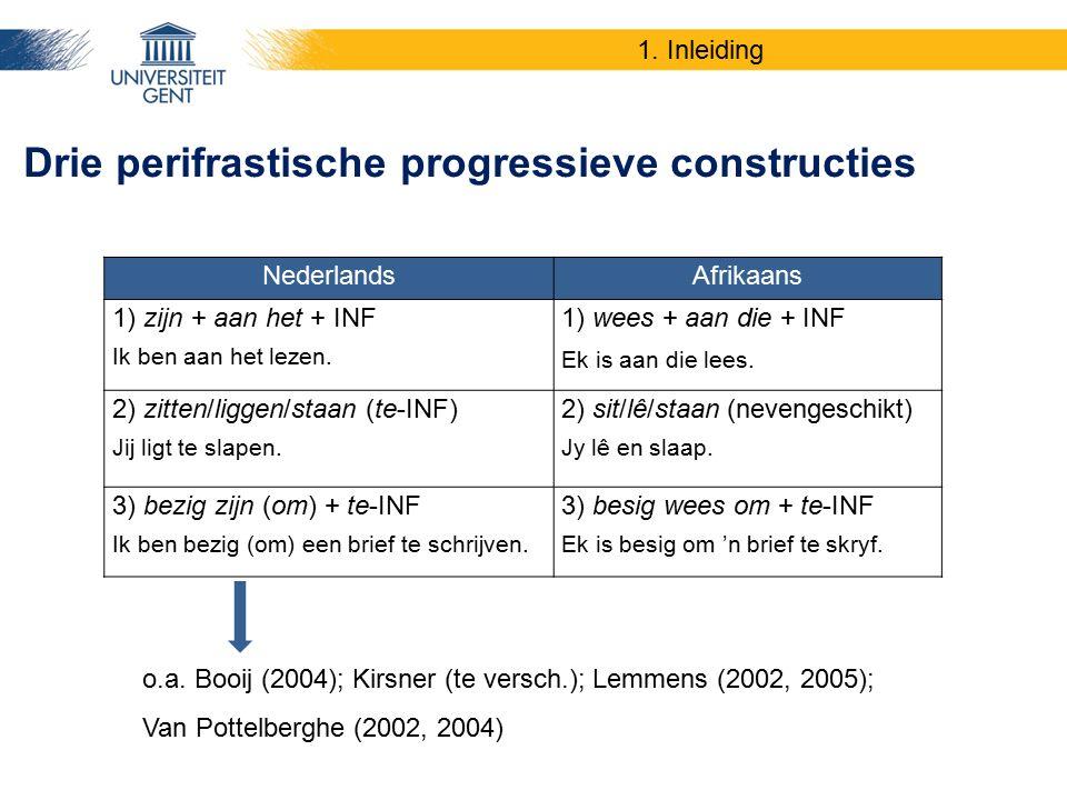 NederlandsAfrikaans 1) zijn + aan het + INF Ik ben aan het lezen. 1) wees + aan die + INF Ek is aan die lees. 2) zitten/liggen/staan (te-INF) Jij ligt