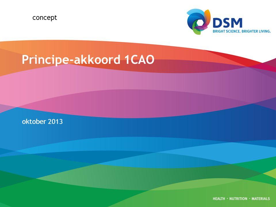 Pagina1 Samen met DSM gekomen tot geharmoniseerde en modernere CAO voor alle medewerkers van DSM in Nederland Ingangsdatum nieuwe CAO 1 april 2014 Looptijd nieuwe CAO van 1 april 2014 t/m 31 december 2014 Belangrijke onderwerpen: 1.Beloning – vast & variabel 2.Arbeidsduur & verlof 3.Benefits (extra's) 4.MyChoice 5.Transitie Uitgangspunt: –Niemand van de huidige medewerkers gaat er in totale waarde van arbeidsvoorwaarden op achteruit 1CAO principe-akkoord