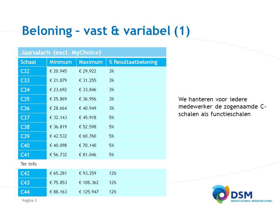Pagina Beloning – vast & variabel (1) We hanteren voor iedere medewerker de zogenaamde C- schalen als functieschalen 3 Jaarsalaris (excl.