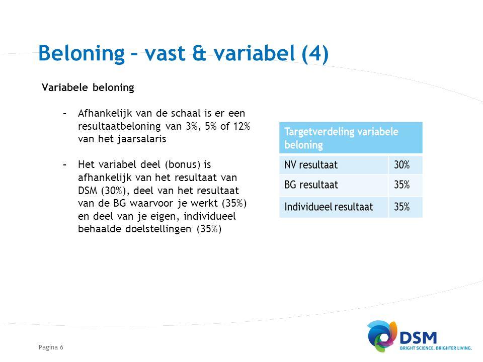 Pagina Beloning – vast & variabel (4) Variabele beloning –Afhankelijk van de schaal is er een resultaatbeloning van 3%, 5% of 12% van het jaarsalaris