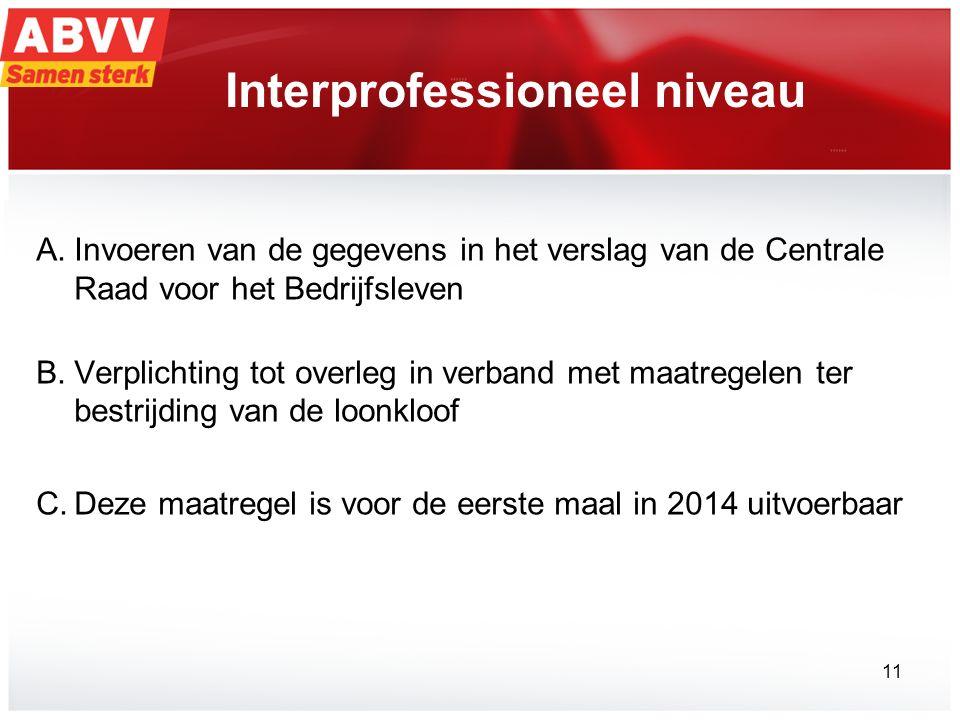 Interprofessioneel niveau A.Invoeren van de gegevens in het verslag van de Centrale Raad voor het Bedrijfsleven B.Verplichting tot overleg in verband met maatregelen ter bestrijding van de loonkloof C.Deze maatregel is voor de eerste maal in 2014 uitvoerbaar 11