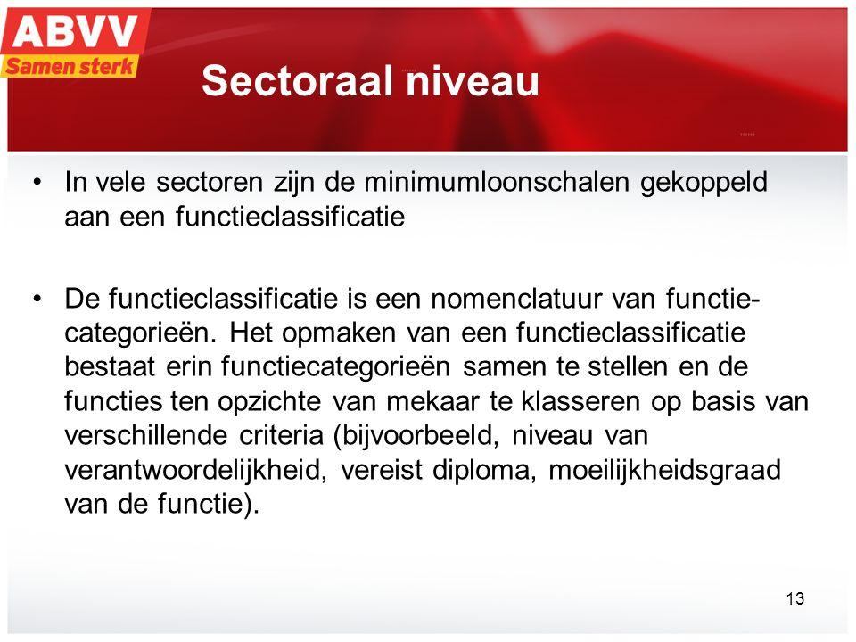 Sectoraal niveau In vele sectoren zijn de minimumloonschalen gekoppeld aan een functieclassificatie De functieclassificatie is een nomenclatuur van functie- categorieën.