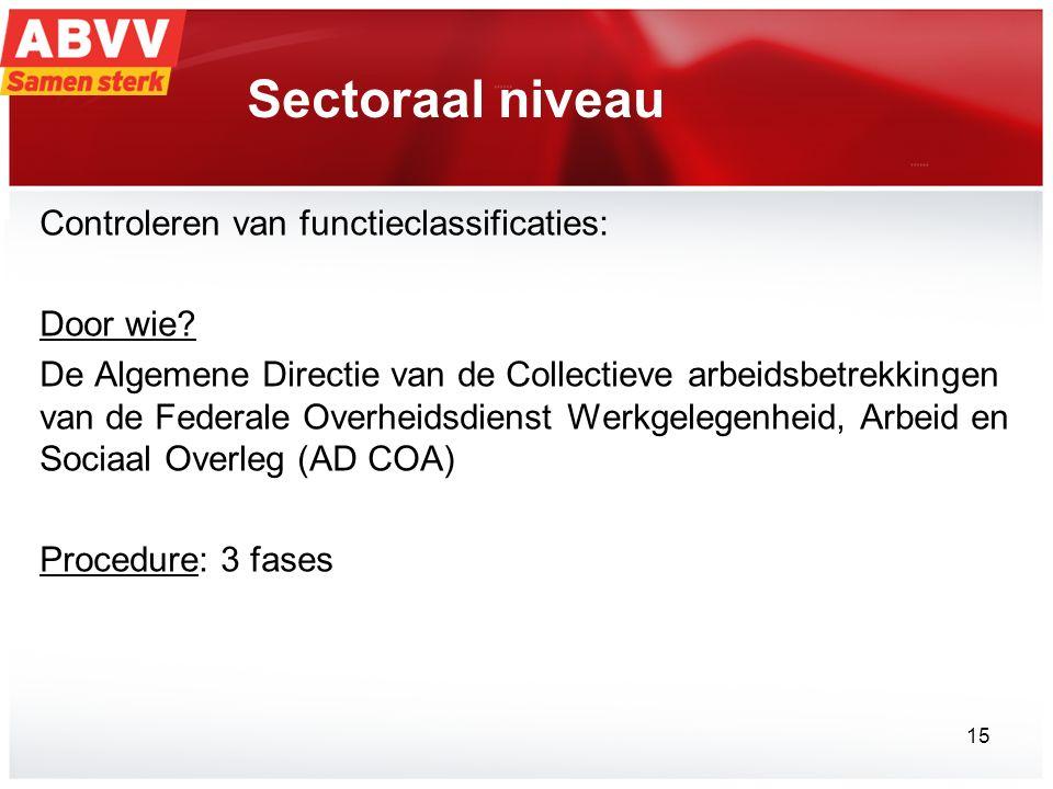 Sectoraal niveau Controleren van functieclassificaties: Door wie? De Algemene Directie van de Collectieve arbeidsbetrekkingen van de Federale Overheid