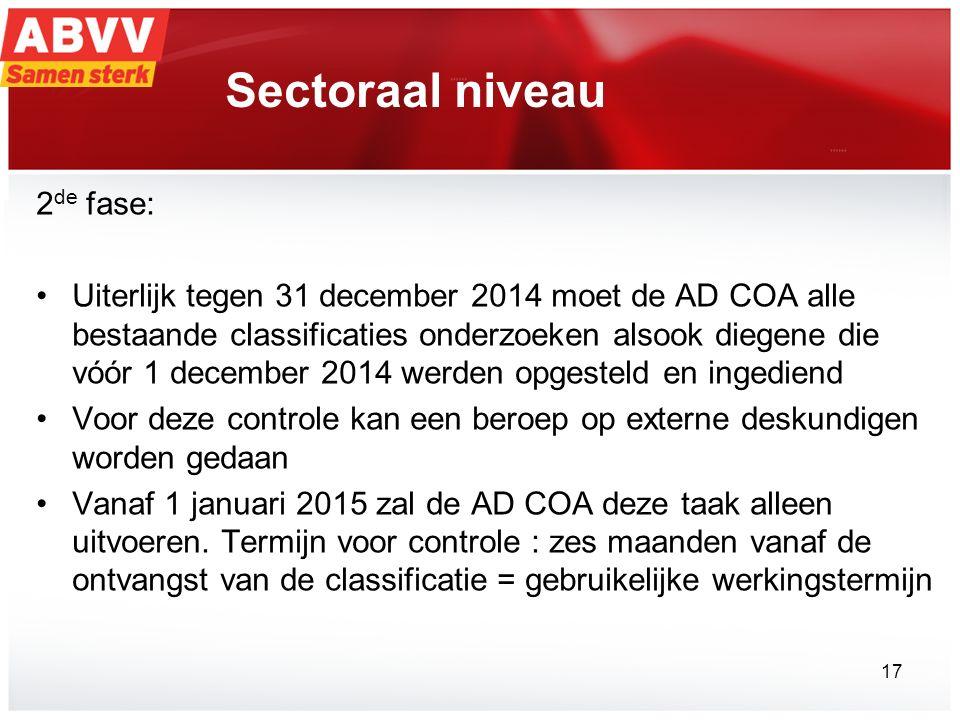 Sectoraal niveau 2 de fase: Uiterlijk tegen 31 december 2014 moet de AD COA alle bestaande classificaties onderzoeken alsook diegene die vóór 1 december 2014 werden opgesteld en ingediend Voor deze controle kan een beroep op externe deskundigen worden gedaan Vanaf 1 januari 2015 zal de AD COA deze taak alleen uitvoeren.