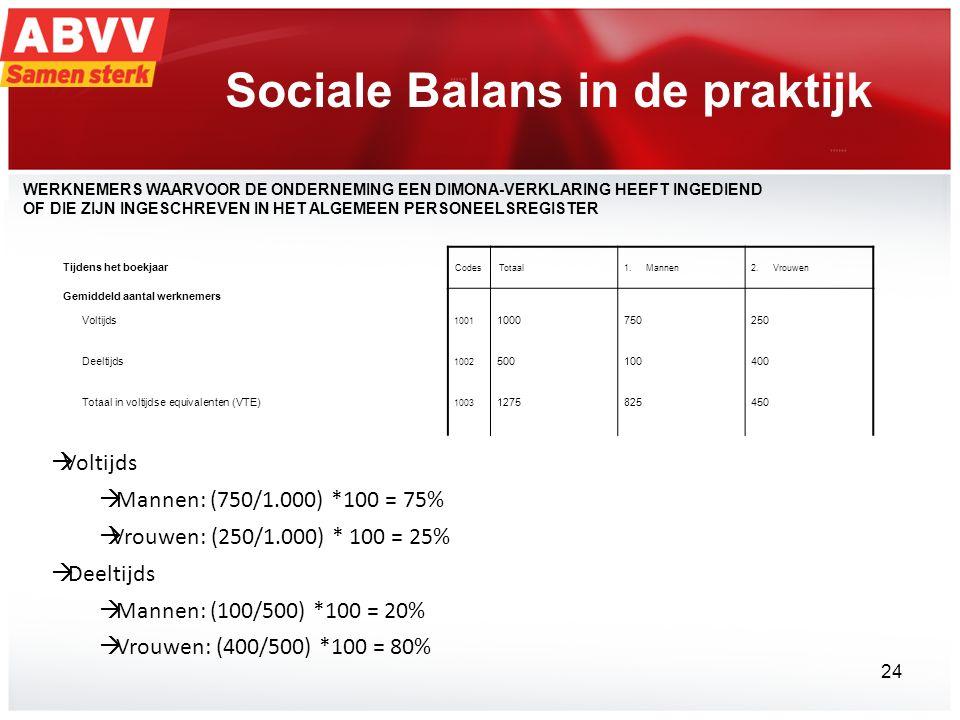 Sociale Balans in de praktijk  Voltijds  Mannen: (750/1.000) *100 = 75%  Vrouwen: (250/1.000) * 100 = 25%  Deeltijds  Mannen: (100/500) *100 = 20%  Vrouwen: (400/500) *100 = 80% Tijdens het boekjaar CodesTotaal1.