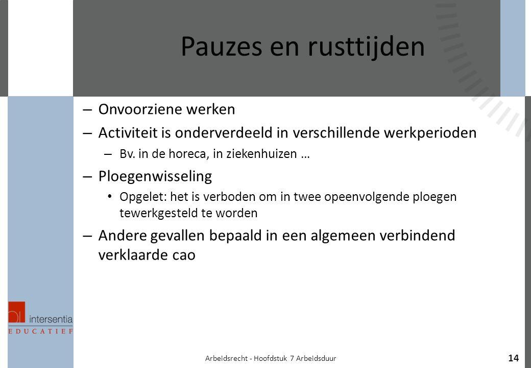 Arbeidsrecht - Hoofdstuk 7 Arbeidsduur 14 Pauzes en rusttijden – Onvoorziene werken – Activiteit is onderverdeeld in verschillende werkperioden – Bv.