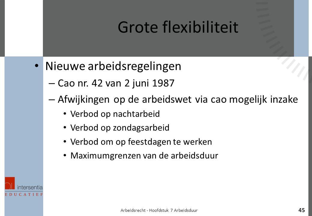 Arbeidsrecht - Hoofdstuk 7 Arbeidsduur 45 Grote flexibiliteit Nieuwe arbeidsregelingen – Cao nr.