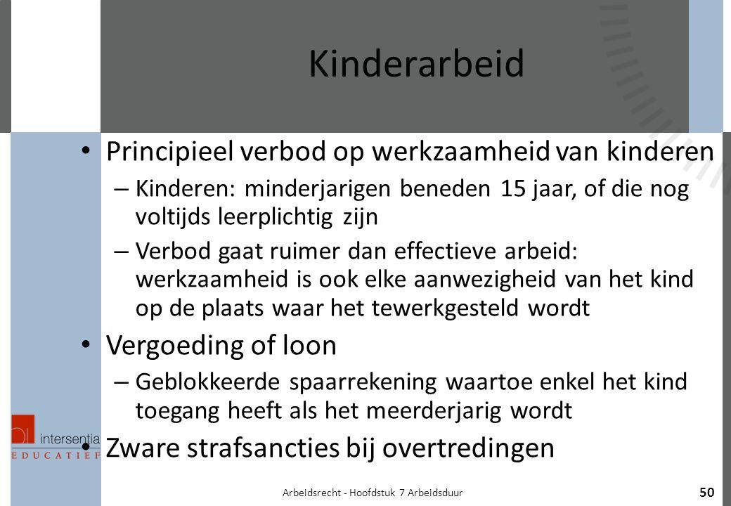 Arbeidsrecht - Hoofdstuk 7 Arbeidsduur 50 Kinderarbeid Principieel verbod op werkzaamheid van kinderen – Kinderen: minderjarigen beneden 15 jaar, of die nog voltijds leerplichtig zijn – Verbod gaat ruimer dan effectieve arbeid: werkzaamheid is ook elke aanwezigheid van het kind op de plaats waar het tewerkgesteld wordt Vergoeding of loon – Geblokkeerde spaarrekening waartoe enkel het kind toegang heeft als het meerderjarig wordt Zware strafsancties bij overtredingen