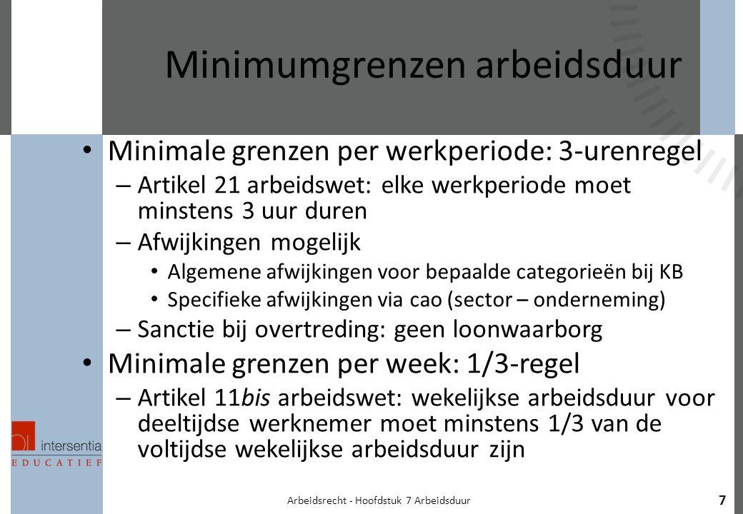 Arbeidsrecht - Hoofdstuk 7 Arbeidsduur 7 Minimumgrenzen arbeidsduur Minimale grenzen per werkperiode: 3-urenregel – Artikel 21 arbeidswet: elke werkperiode moet minstens 3 uur duren – Afwijkingen mogelijk Algemene afwijkingen voor bepaalde categorieën bij KB Specifieke afwijkingen via cao (sector – onderneming) – Sanctie bij overtreding: geen loonwaarborg Minimale grenzen per week: 1/3-regel – Artikel 11bis arbeidswet: wekelijkse arbeidsduur voor deeltijdse werknemer moet minstens 1/3 van de voltijdse wekelijkse arbeidsduur zijn