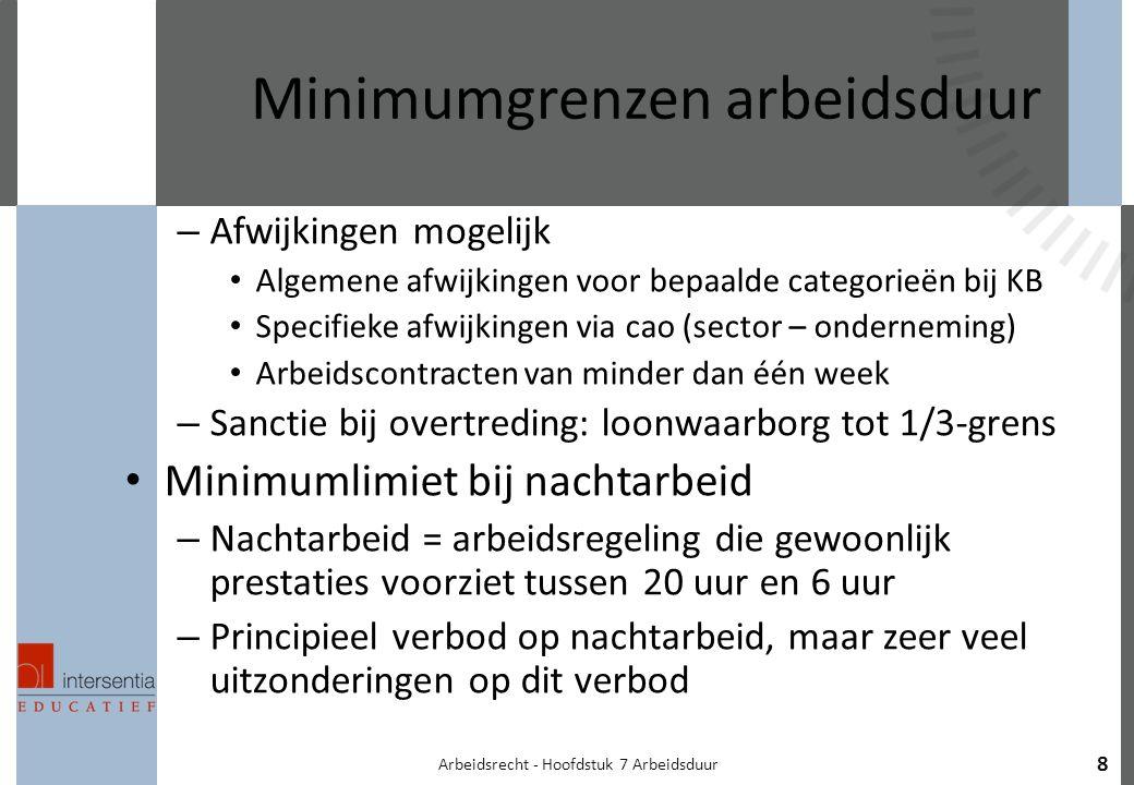 Arbeidsrecht - Hoofdstuk 7 Arbeidsduur 8 Minimumgrenzen arbeidsduur – Afwijkingen mogelijk Algemene afwijkingen voor bepaalde categorieën bij KB Specifieke afwijkingen via cao (sector – onderneming) Arbeidscontracten van minder dan één week – Sanctie bij overtreding: loonwaarborg tot 1/3-grens Minimumlimiet bij nachtarbeid – Nachtarbeid = arbeidsregeling die gewoonlijk prestaties voorziet tussen 20 uur en 6 uur – Principieel verbod op nachtarbeid, maar zeer veel uitzonderingen op dit verbod
