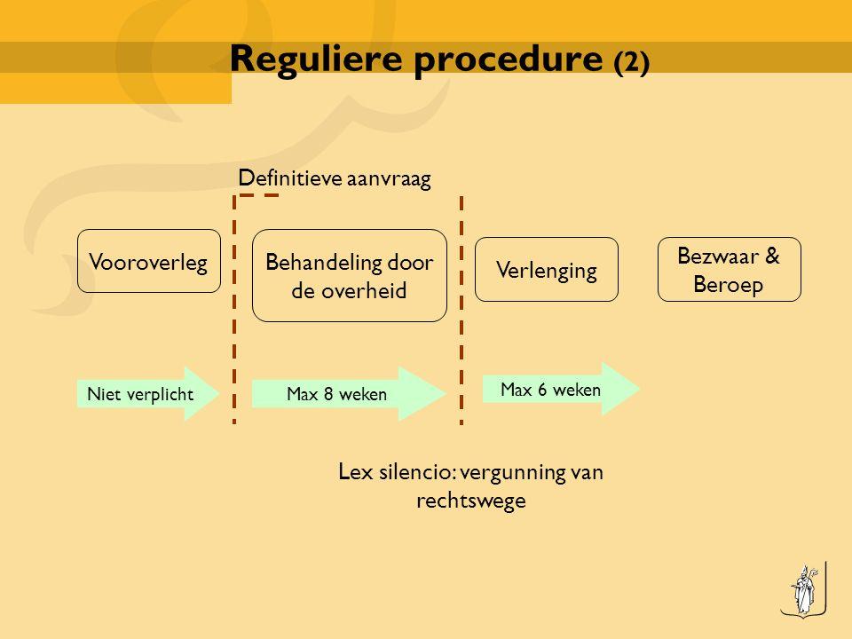 Reguliere procedure (2) Vooroverleg Behandeling door de overheid Verlenging Bezwaar & Beroep Niet verplichtMax 8 weken Max 6 weken Definitieve aanvraag Lex silencio: vergunning van rechtswege