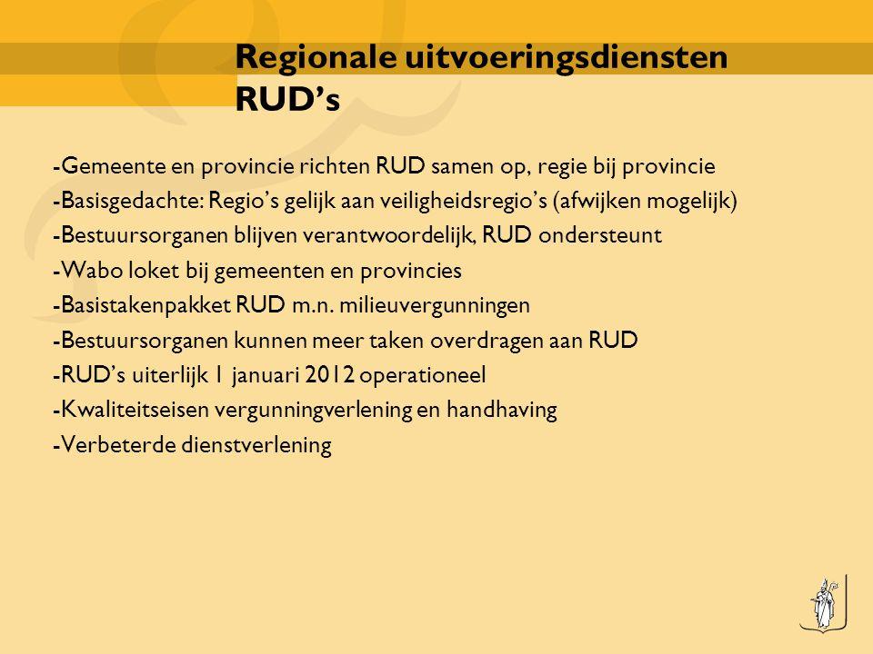 Regionale uitvoeringsdiensten RUD's -Gemeente en provincie richten RUD samen op, regie bij provincie -Basisgedachte: Regio's gelijk aan veiligheidsregio's (afwijken mogelijk) -Bestuursorganen blijven verantwoordelijk, RUD ondersteunt -Wabo loket bij gemeenten en provincies -Basistakenpakket RUD m.n.