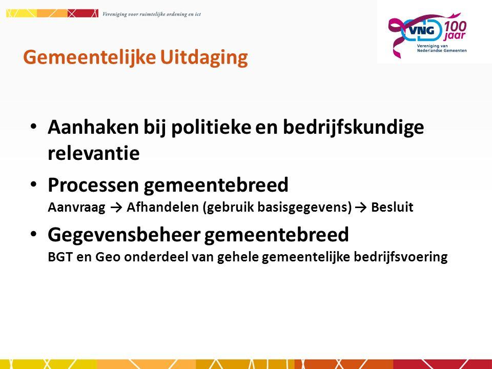 Gemeentelijke Uitdaging Aanhaken bij politieke en bedrijfskundige relevantie Processen gemeentebreed Aanvraag → Afhandelen (gebruik basisgegevens) → B