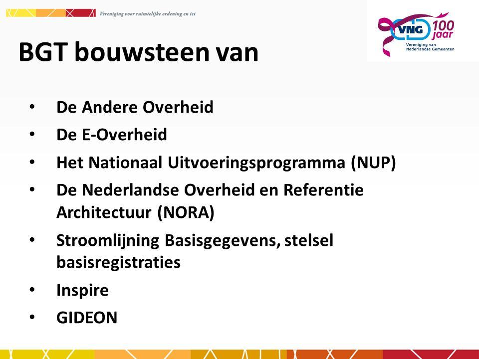 BGT bouwsteen van De Andere Overheid De E-Overheid Het Nationaal Uitvoeringsprogramma (NUP) De Nederlandse Overheid en Referentie Architectuur (NORA) Stroomlijning Basisgegevens, stelsel basisregistraties Inspire GIDEON