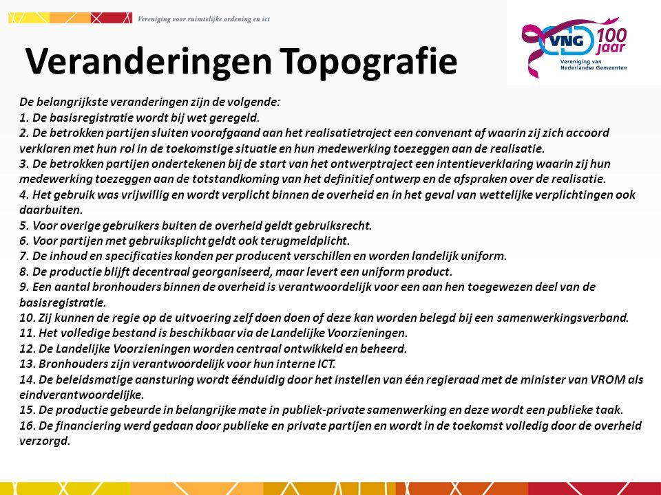 Veranderingen Topografie De belangrijkste veranderingen zijn de volgende: 1. De basisregistratie wordt bij wet geregeld. 2. De betrokken partijen slui