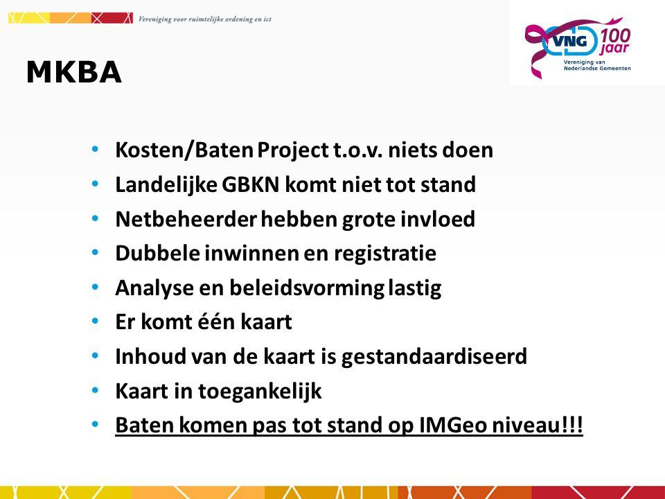 MKBA Kosten/Baten Project t.o.v. niets doen Landelijke GBKN komt niet tot stand Netbeheerder hebben grote invloed Dubbele inwinnen en registratie Anal