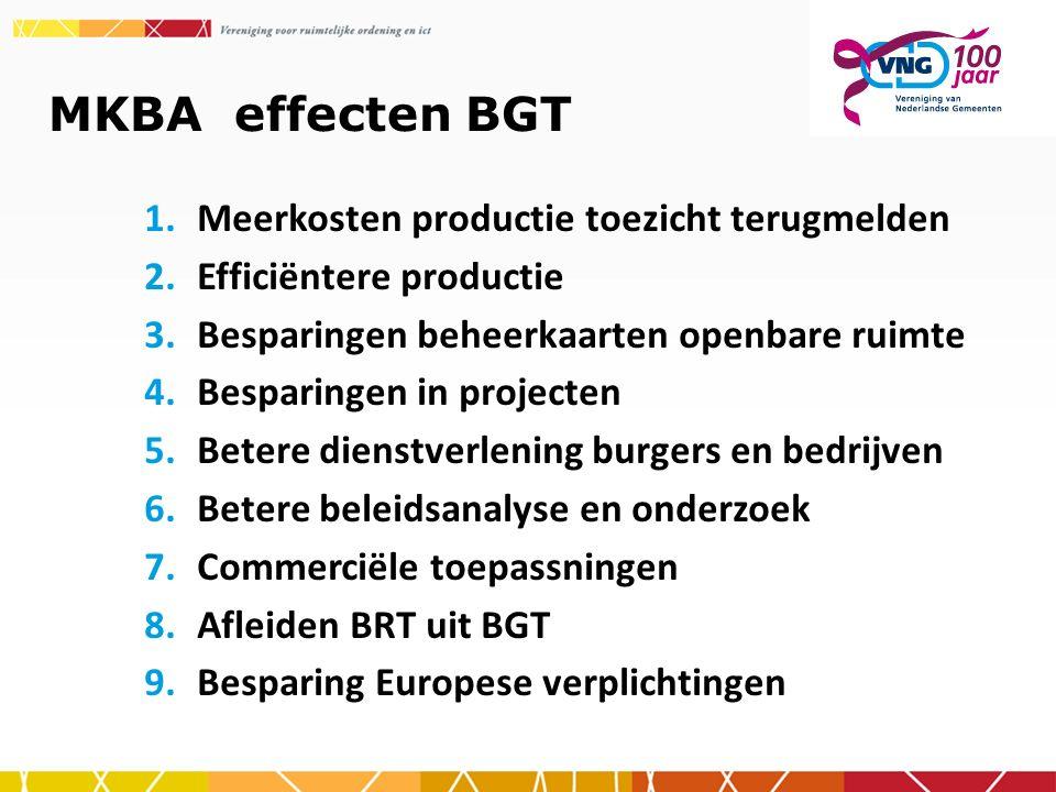 MKBA effecten BGT 1.Meerkosten productie toezicht terugmelden 2.Efficiëntere productie 3.Besparingen beheerkaarten openbare ruimte 4.Besparingen in projecten 5.Betere dienstverlening burgers en bedrijven 6.Betere beleidsanalyse en onderzoek 7.Commerciële toepassningen 8.Afleiden BRT uit BGT 9.Besparing Europese verplichtingen