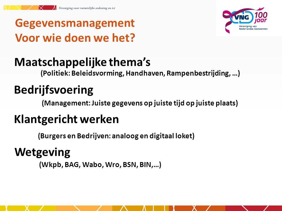 Maatschappelijke thema's Gegevensmanagement Voor wie doen we het? (Politiek: Beleidsvorming, Handhaven, Rampenbestrijding, …) Bedrijfsvoering (Managem