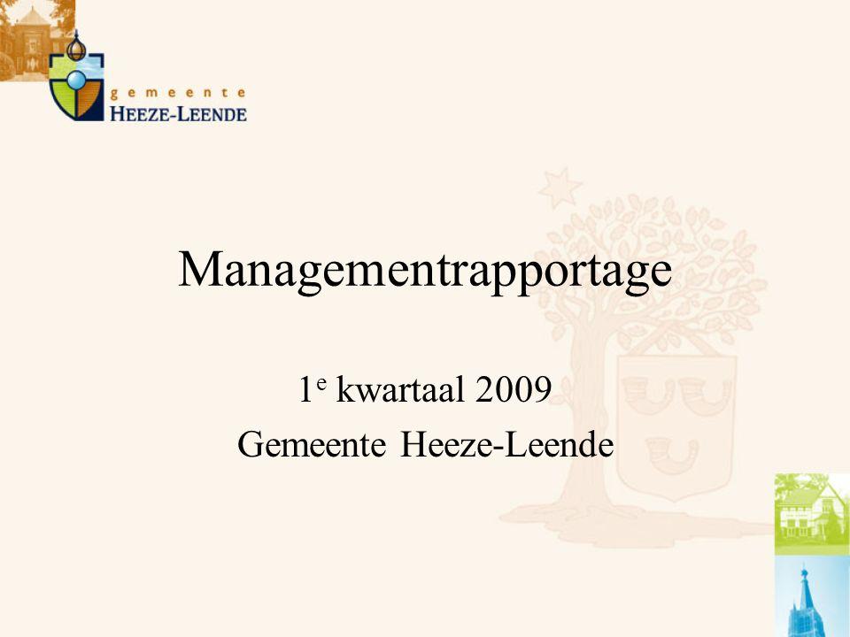 Managementrapportage Afdeling Ruimtelijke Ontwikkeling 1 e kwartaal 2009