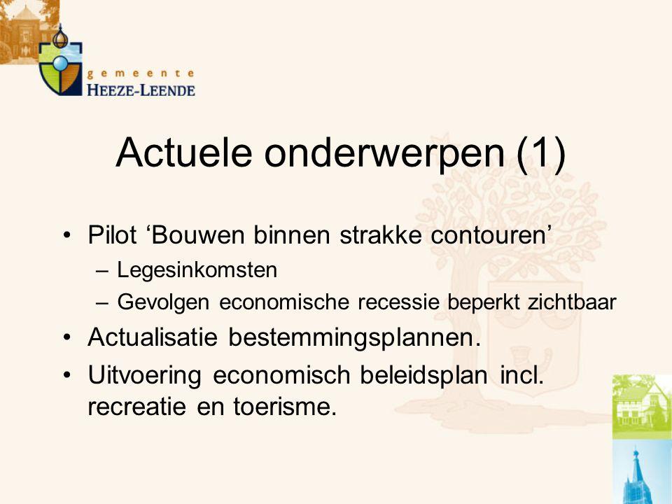 Actuele onderwerpen (1) Pilot 'Bouwen binnen strakke contouren' –Legesinkomsten –Gevolgen economische recessie beperkt zichtbaar Actualisatie bestemmingsplannen.