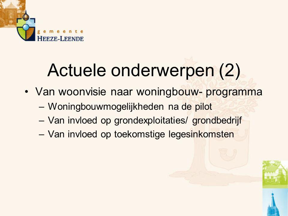 Actuele onderwerpen (2) Van woonvisie naar woningbouw- programma –Woningbouwmogelijkheden na de pilot –Van invloed op grondexploitaties/ grondbedrijf –Van invloed op toekomstige legesinkomsten