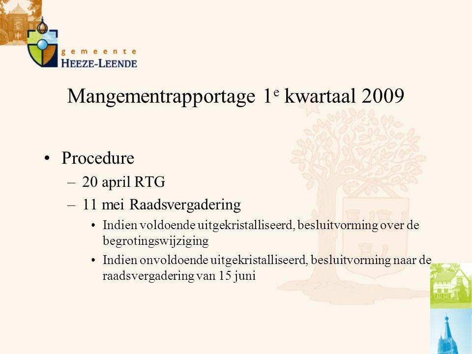 Mangementrapportage 1 e kwartaal 2009 Procedure –20 april RTG –11 mei Raadsvergadering Indien voldoende uitgekristalliseerd, besluitvorming over de begrotingswijziging Indien onvoldoende uitgekristalliseerd, besluitvorming naar de raadsvergadering van 15 juni