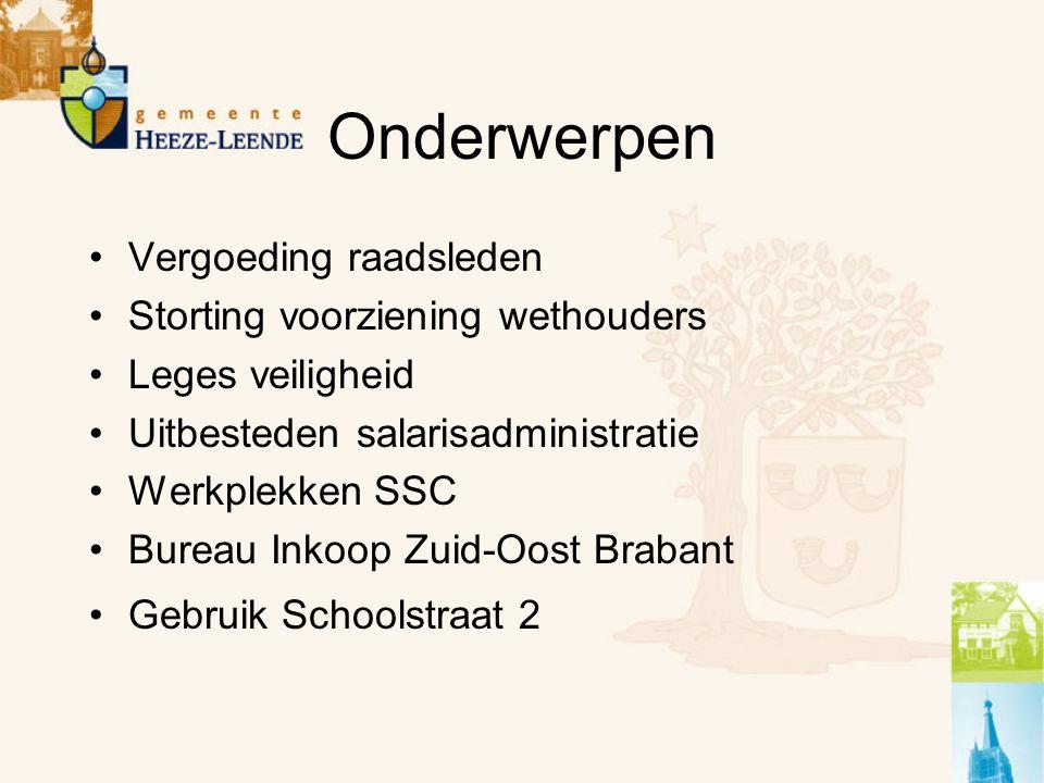 Onderwerpen Vergoeding raadsleden Storting voorziening wethouders Leges veiligheid Uitbesteden salarisadministratie Werkplekken SSC Bureau Inkoop Zuid-Oost Brabant Gebruik Schoolstraat 2