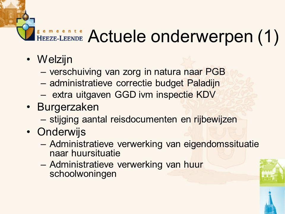 Actuele onderwerpen (1) Welzijn –verschuiving van zorg in natura naar PGB –administratieve correctie budget Paladijn – extra uitgaven GGD ivm inspecti