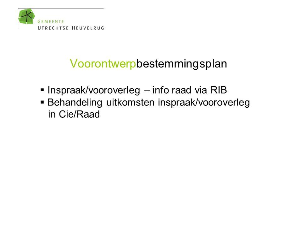Voorontwerpbestemmingsplan  Inspraak/vooroverleg – info raad via RIB  Behandeling uitkomsten inspraak/vooroverleg in Cie/Raad