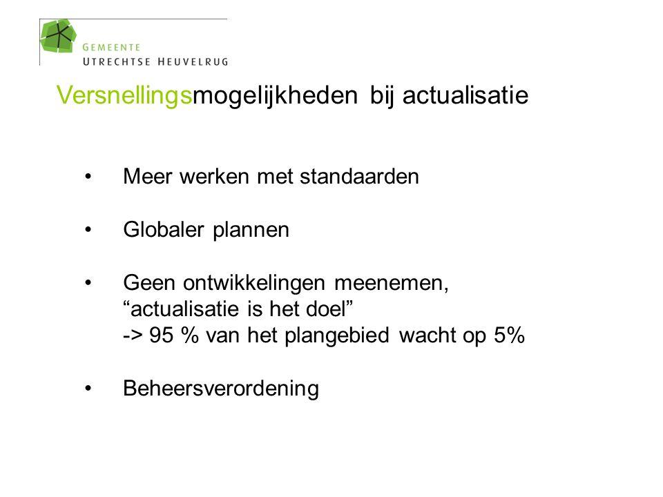 """Versnellingsmogelijkheden bij actualisatie Meer werken met standaarden Globaler plannen Geen ontwikkelingen meenemen, """"actualisatie is het doel"""" -> 95"""