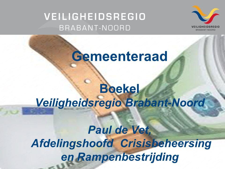 Gemeenteraad Boekel Veiligheidsregio Brabant-Noord Paul de Vet, Afdelingshoofd Crisisbeheersing en Rampenbestrijding