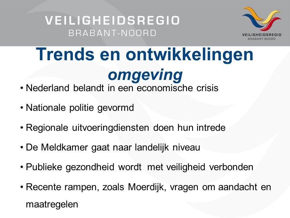 Nederland belandt in een economische crisis Nationale politie gevormd Regionale uitvoeringdiensten doen hun intrede De Meldkamer gaat naar landelijk niveau Publieke gezondheid wordt met veiligheid verbonden Recente rampen, zoals Moerdijk, vragen om aandacht en maatregelen Trends en ontwikkelingen omgeving