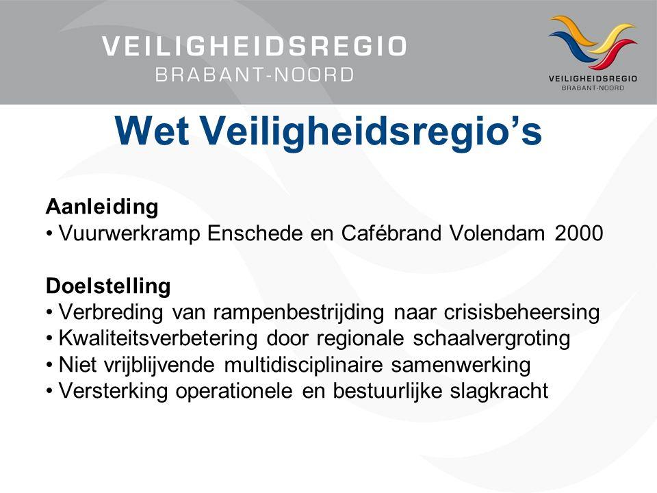 Aanleiding Vuurwerkramp Enschede en Cafébrand Volendam 2000 Doelstelling Verbreding van rampenbestrijding naar crisisbeheersing Kwaliteitsverbetering door regionale schaalvergroting Niet vrijblijvende multidisciplinaire samenwerking Versterking operationele en bestuurlijke slagkracht Wet Veiligheidsregio's