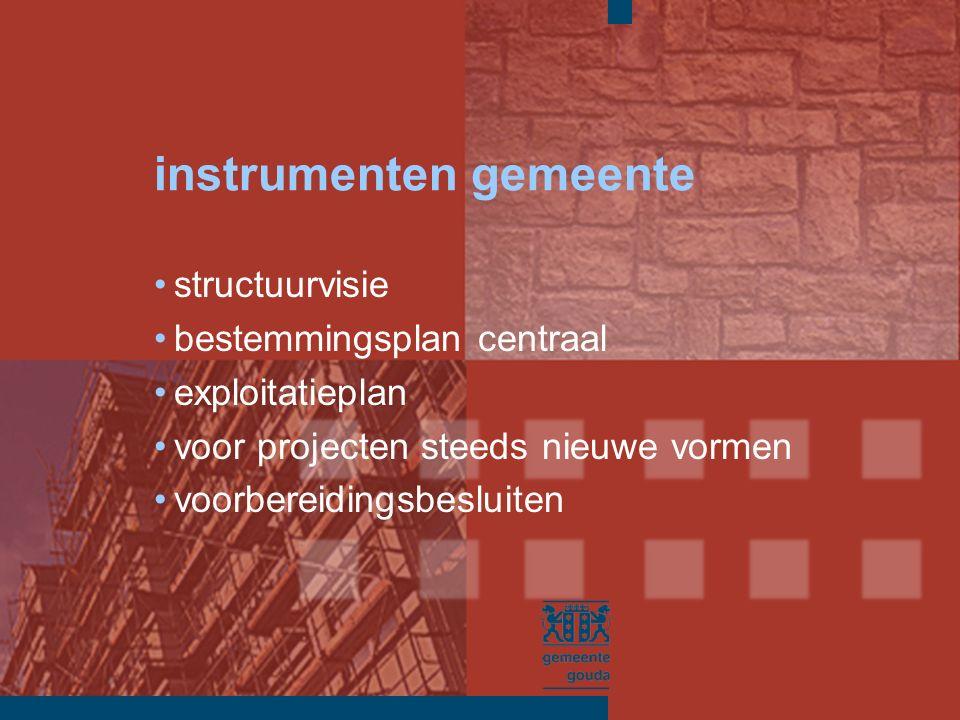 instrumenten gemeente structuurvisie bestemmingsplan centraal exploitatieplan voor projecten steeds nieuwe vormen voorbereidingsbesluiten