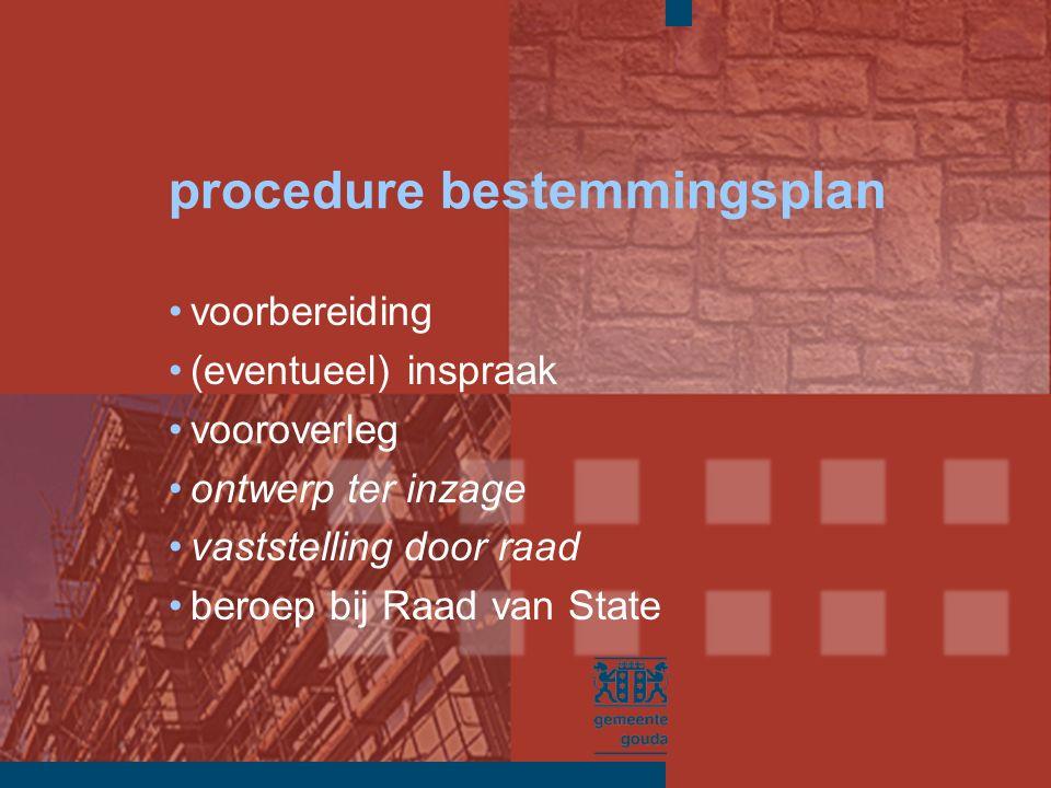 procedure bestemmingsplan voorbereiding (eventueel) inspraak vooroverleg ontwerp ter inzage vaststelling door raad beroep bij Raad van State
