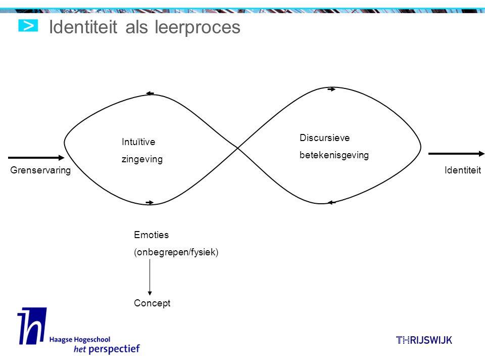 Identiteit als leerproces Intuïtive zingeving Discursieve betekenisgeving GrenservaringIdentiteit Emoties (onbegrepen/fysiek) Concept