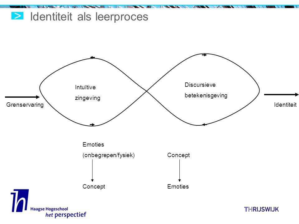 Identiteit als leerproces Intuïtive zingeving Discursieve betekenisgeving GrenservaringIdentiteit Emoties (onbegrepen/fysiek) Concept Emoties