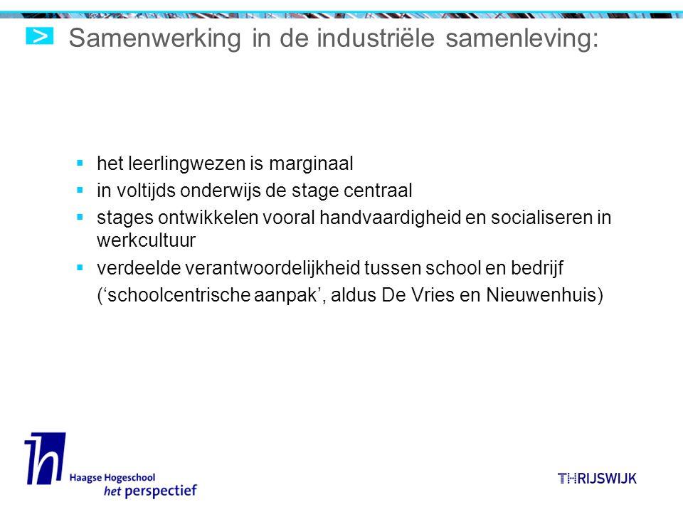 Samenwerking in de industriële samenleving:  het leerlingwezen is marginaal  in voltijds onderwijs de stage centraal  stages ontwikkelen vooral handvaardigheid en socialiseren in werkcultuur  verdeelde verantwoordelijkheid tussen school en bedrijf ('schoolcentrische aanpak', aldus De Vries en Nieuwenhuis)